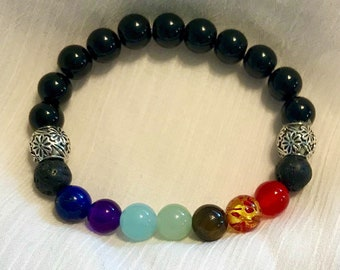 Beaded Bracelet | 7 Chakras | Volcano Lava Stones | Healing Stones | Essential Oils | Balance | Rainbow