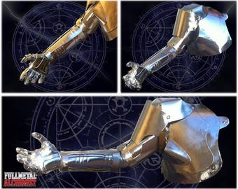 Fullmetal Alchemist cosplay automail arm, anime manga character Edward Elric, metal robotic armlet, Halloween prop