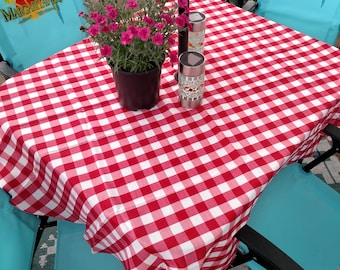 Umbrella hole fabric Patio Tablecloth in 7 colors checkered gingham buffalo check rounds ovals squares rectangles