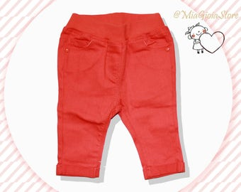 Chicco trousers 56/3 months, orange color, baby girl clothes, baby gift, baby clothes, baby clothing