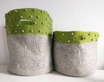 Green and grey felt bags, kids felt bags, felt baskets, Mk kids interiors, childrens storage bags, storage felt bag,  laundry bags, Hampers