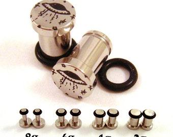 UFO Surgical Steel Plugs - Single Flared - 8g (3mm) 4g (5mm) 2g (6mm) Single Flare Alien Metal Ear Gauges