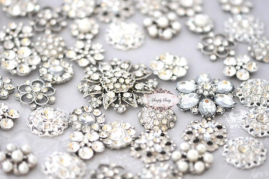 50 Pcs Rhinestone Embellishment Flatback Buttons Assorted