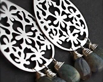Chandelier earrings-Edgy Urban Sterling Silver Earrings with Smokey Labradorite Teardrops