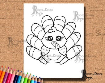 INSTANT DOWNLOAD Cute Turkey Coloring Coloring Page Print, doodle art, printable Thanksgiving