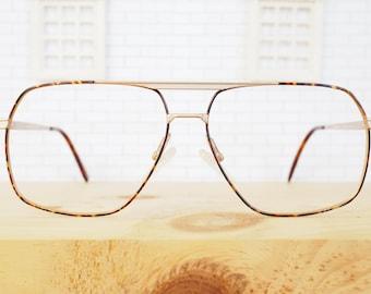 Vintage 1970s Aviator/ Matte Gold Frames/ New Old Stock Glasses/ Made in Korea/ Tortoiseshell Enamel/ beautiful!