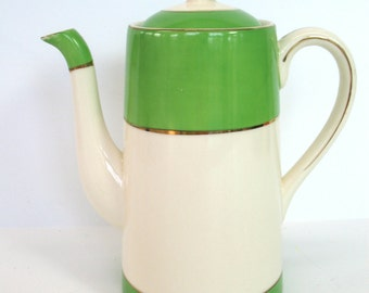 Modernist Coffee Pot Japan Mid Century Modern Chocolate Pot Serving Ware Green Ivory Gold Coffee Server