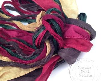 Silk Ribbon - Hand Painted Silk - Silky Ribbon - Fairy Ribbon - Jewelry Supplies - Wrap Bracelet - Craft Supplies - Moms Colonial Christmas