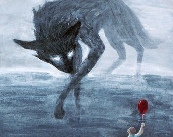 Shadow Dog Meets Boy With a Balloon Matted Art Print in 3 Sizes