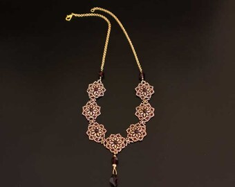 Gold Bib Necklace with Swarovski Crystals Faceted Drop Pendant, Pearls in Burgundy and Beaded Rosettes in Gold and Purple. S182