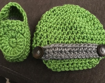 Baby Newsboy hat and loafers