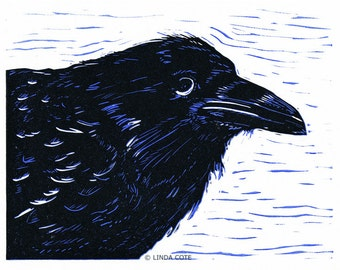 Young Raven Linocut Relief Print, 2-Color Hand-Pulled Fine Art, Limited Edition, Printmaking Original