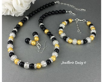 Black and Yellow Jewelry Bridesmaid Gift Maid of Honor Pearl Necklace Bridal Part Jewelry Gift Idea Wedding Jewelry