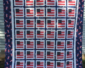"Stars and Stripes American Patriotic Flag Large Lap Quilt 70""x79"""