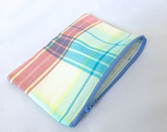 Colorful plaid Pencil case, Zipper pouch, Back to school, Make-up bag, Cosmetic pouch, Small, Coin purse