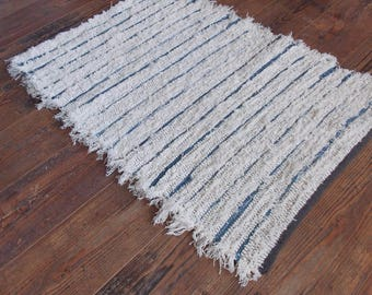 Denim and off-white rug