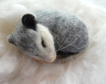 Sweet Sleeping Opossum. Sleeping Possum. Needle Felted Possum. Needle Felted Opossum. Felt Possum. Woodland Toy. Possum Toy. Opossum Animal
