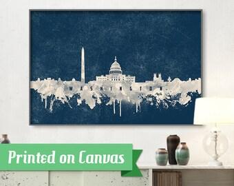 WASHINGTON skyline, Washington, Canvas, Print, Travel, Art, Home Decor, Painting, Vintage, Skyline, City prints