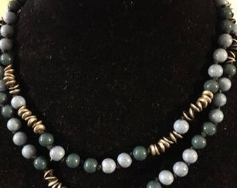 Double Strand Necklace in Shades of Blues