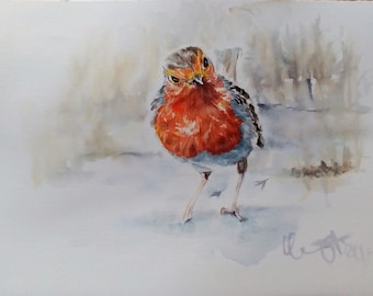 Original Robin Watercolour-robin Watercolour Original
