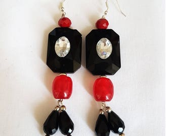 Evening earrings black and red No.1