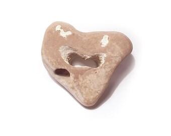 Hag Stone   Funky Heart   medium  Holed Stone   Odin Stone   Adder stone   Faerie Stone   holey stone   natural hole   healing double heart