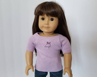 Purple T-Shirt For American Girl Doll, 18 Inch Doll Clothes