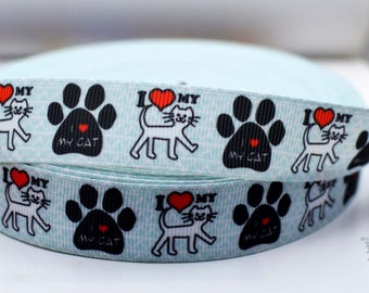 """I  love my cat Grosgrain Ribbon Paw Print 7/8"""" Scrapbooking HairBows IL012018"""