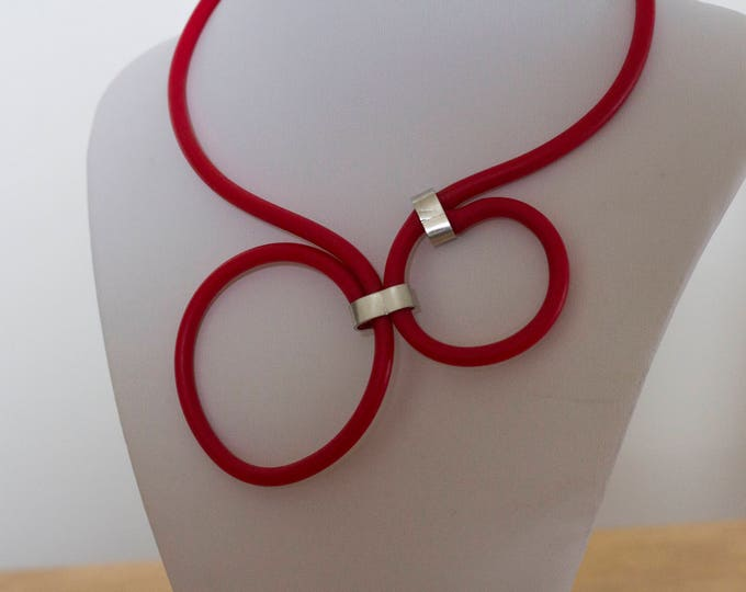 Natural rubber necklace | handmade necklace | Rubber jewellery | Rubber  and aluminium jewelry | Christmas gift for her | Gift idea