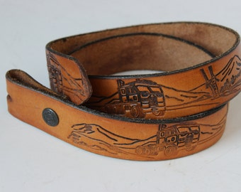 Brown Semi Truck and Mountains Tooled Leather Trucker Replacement Belt Double Snap Size 30