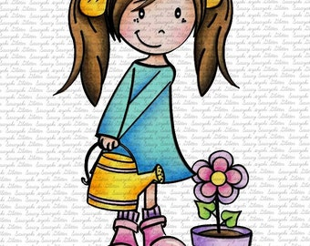 IMAGE #156 - MIA & FLOWER Digital Stamp by Sasayaki Glitter - Naz - both lineart and coloured versions