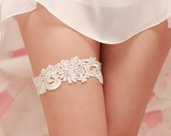 Wedding Garter Ivory Venise Lace- Ivory Garter Belt, Lace Garter Belt
