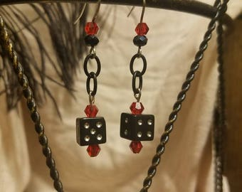 FREE SHIPPING Black and white dice with chains earrings.