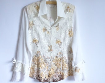 Women's White Blouse Long Sleeves Blouse Silky Blouse Floral Print Blouse Embroidered With Silver Threads Gipsy Style Blouse Hippie Boho
