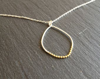 Necklace fine silver and gold pattern