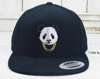 Panda Gold Chains Flat Bill Snapback Embroidered Yupoong Brand Baseball Cap