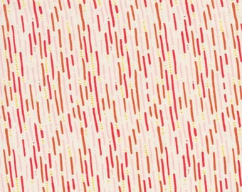Modern Line Fabric - Rain Walk by Anna Graham for Cloud9 Organic Fabrics - Drizzle in Pink - Organic Fabric By the Half Yard
