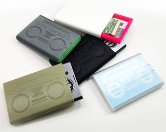 Retro Boombox sliding credit card wallet