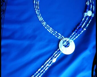Extra long 3 strand blue beaded with shell lariat necklace