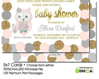 Owl Baby Shower Invitation Girl ,Pink Grey Gold Glitter Owl Baby Girl Shower Invitation, Unique Baby Shower Invitations for Girl, Printable
