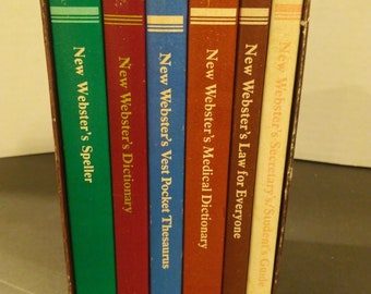 Vintage New Websters Desk Reference Library Set of 6 Books Dictionary Thesaurus Medical Law Students Guide Speller 1980s Desk Set Books