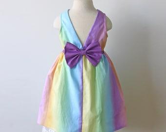 Pastel Rainbow Dress, Rainbow Birthday Dress, Girls Rainbow Dress, Toddler Rainbow Birthday, Rainbow Unicorn Dress, Rainbow Birthday Party