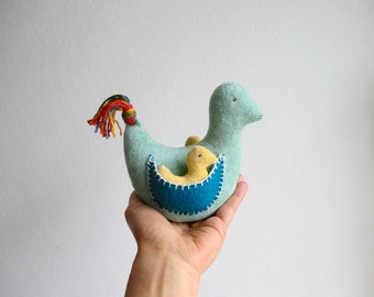 Birds, bird set, mama and babies, organic, green, yellow, blue, child gift, can be vegan