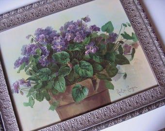 Violets, Print, Paul de Longpre, Frame, Gesso Frame, Shabby Chic