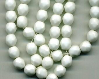 10 6 mm chalk white Czech beads