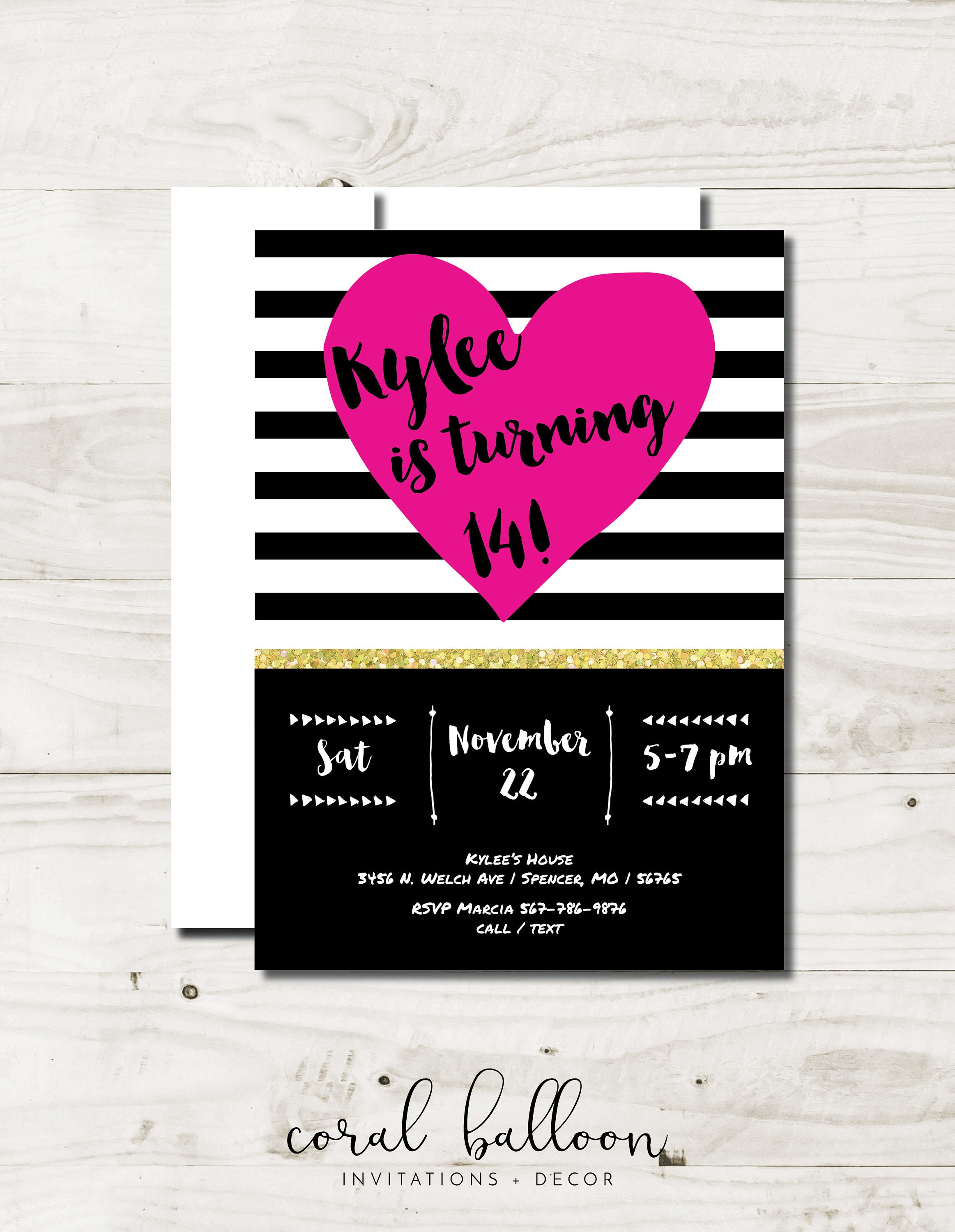 Girl Birthday Party Invitation tween girl party invitations