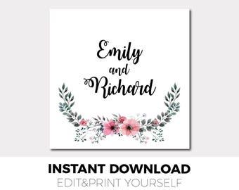 Wedding gift tag printable template Editable wedding gift tag Wedding Tags, Printable Wedding Tags, Favor Tags, Editable Gift Tags, 1A
