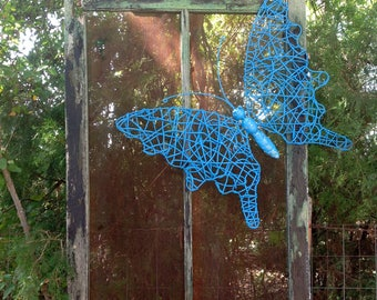 Large Grapevine Twig Butterfly Fence/Wall Art / Blue Butterfly / Hanging Outdoor Patio Fence