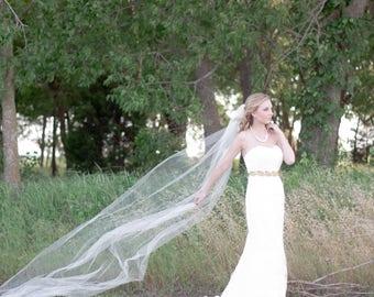 Chapel Length 7ft Bridal veil raw cut edge