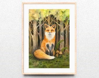 Woodland Fox Watercolor Print, Fox Art Print, Woodland Fox Art, Woodland Fox Watercolor Art Print, Giclee Watercolor Painting, Forest Fox